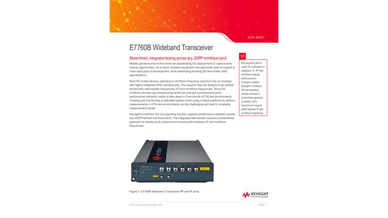 E7760B  Wideband Transceiver