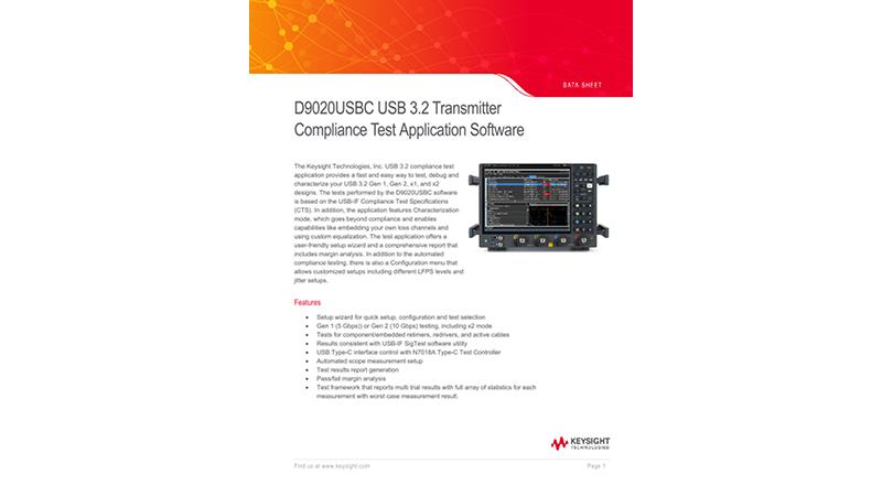 D9020USBC USB 3.2 Transmitter Compliance Test Application Software
