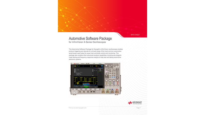Automotive Software Package for InfiniiVision X-Series Oscilloscopes