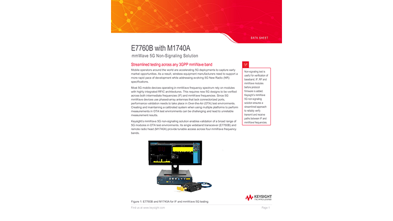E7760B with M1740A mmWave 5G Non-Signaling Solution