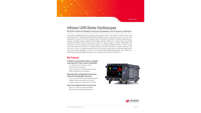N2163A mmWave Wideband Analysis Acceleration and Frequency Extensions Data Sheet