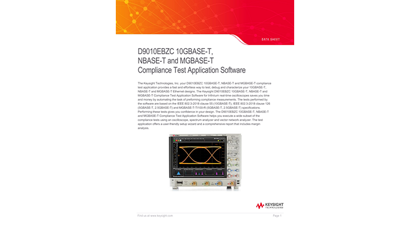 D9010EBZC 10GBASE-T, NBASE-T and MGBASE-T Compliance Test Application Software