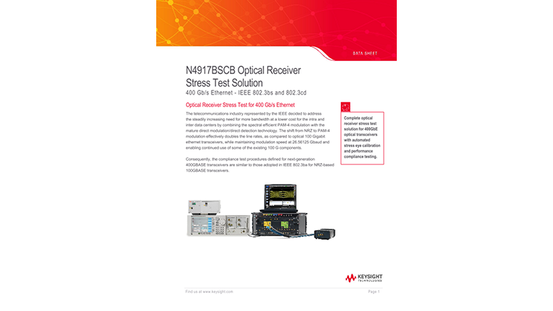 N4917BSCB Optical Receiver Stress Test Solution