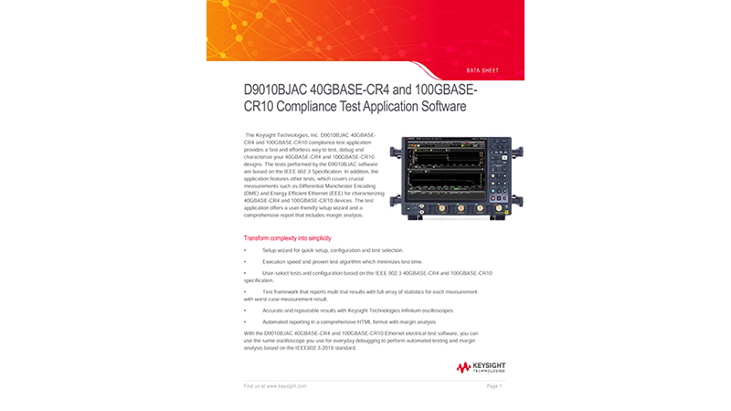 D9010BJAC 40GBASE-CR4 and 100GBASE-CR10 Compliance Test Application Software
