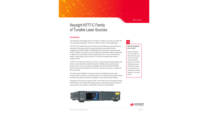 N777-C Family of Tunable Laser Sources