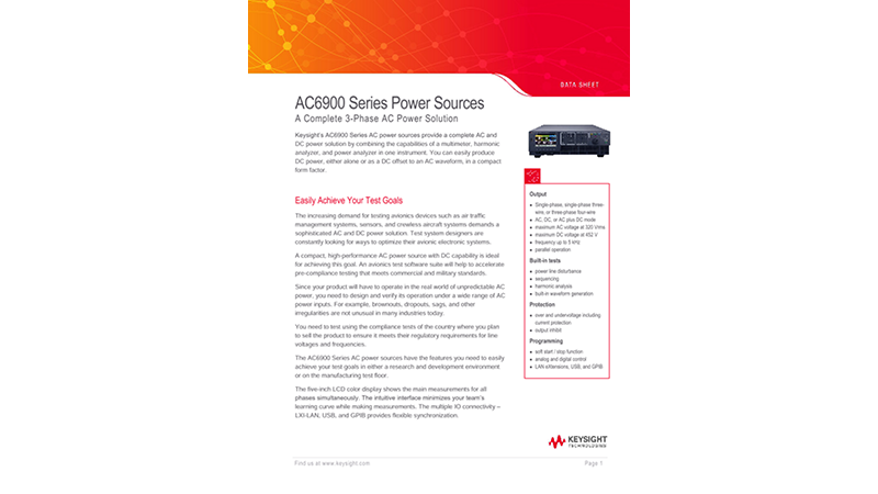 AC6900 Series Power Sources A Complete Three-Phase AC Power Solution