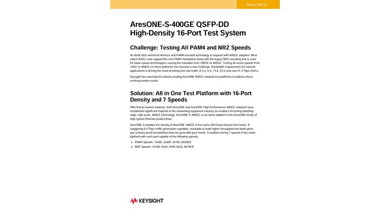 Keysight AresONE-S-400GE QSFP-DD High-Density 16-Port Test System