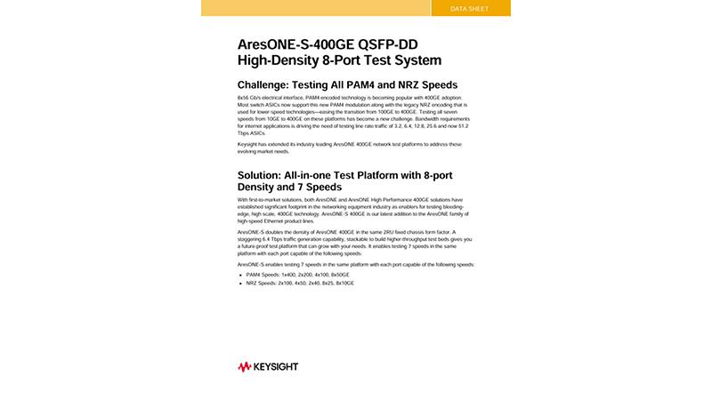 Keysight AresONE-S-400GE QSFP-DD High-Density 8-Port Test System