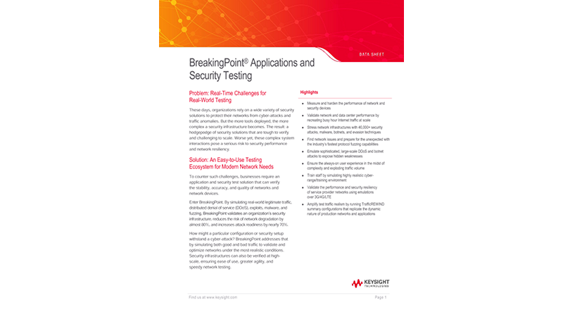 BreakingPoint® Applications and Security Testing