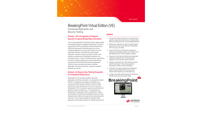 BreakingPoint Virtual Edition (VE)