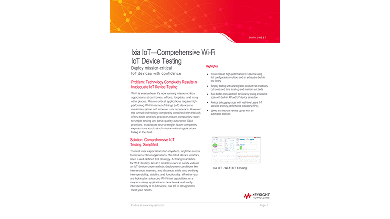 Ixia IoT — Comprehensive Wi-Fi IoT Device Testing