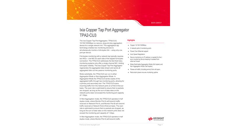 Ixia Copper Tap Port Aggregator TPA2-CU3