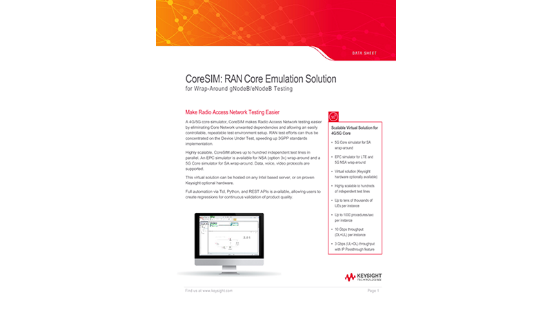 CoreSIM: RAN Core Emulation Solution for Wrap-Around gNodeB/eNodeB Testing