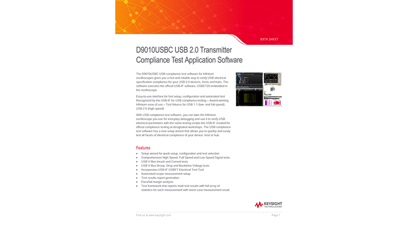 D9010USBC USB 2.0 Transmitter Compliance Test Application Software