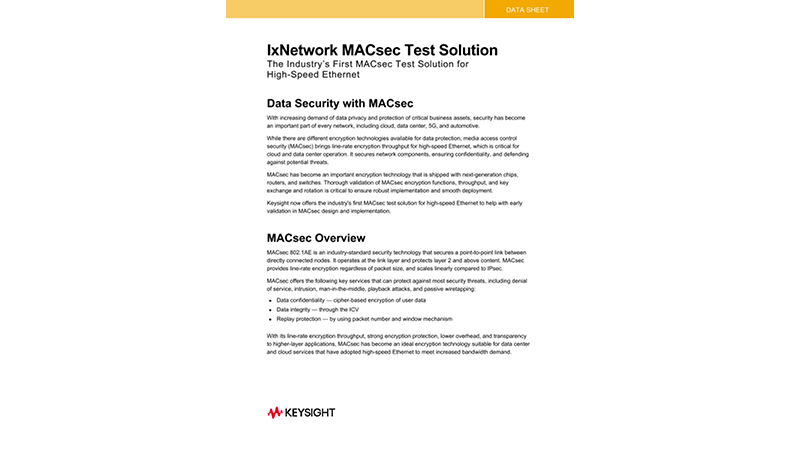 IxNetwork MACsec Test Solution