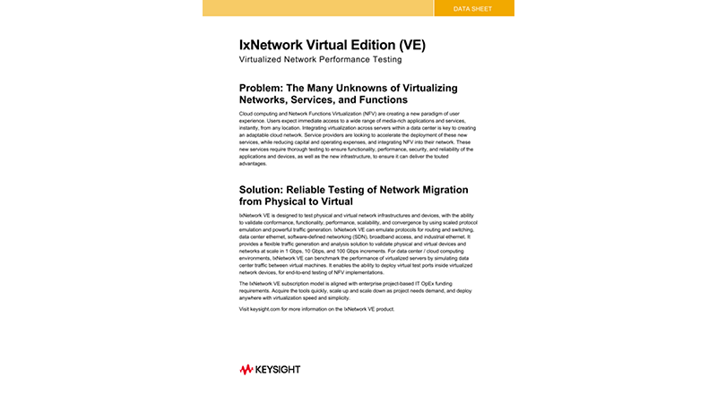 IxNetwork Virtual Edition (VE)