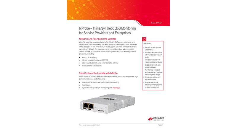 IxProbe – Inline/Synthetic QoS Monitoring for Service Providers and Enterprises