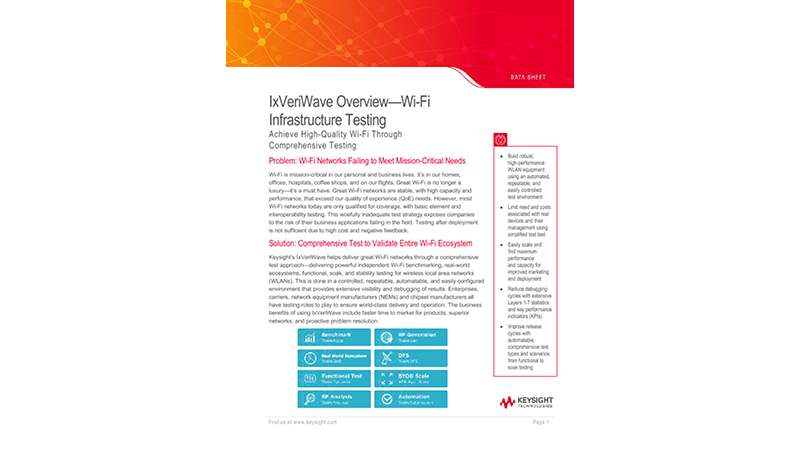 IxVeriWave® Overview—Wi-Fi Infrastructure Testing
