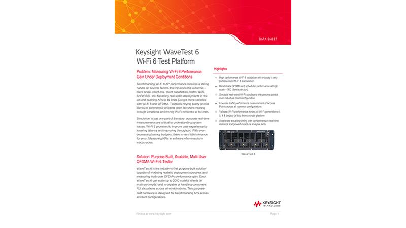 Keysight WaveTest 6 Wi-Fi 6 Test Solution