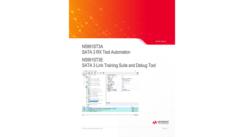 N5991ST3A SATA 3 RX Test Automation N5991ST3E SATA 3 Link Training Suite and Debug Tool