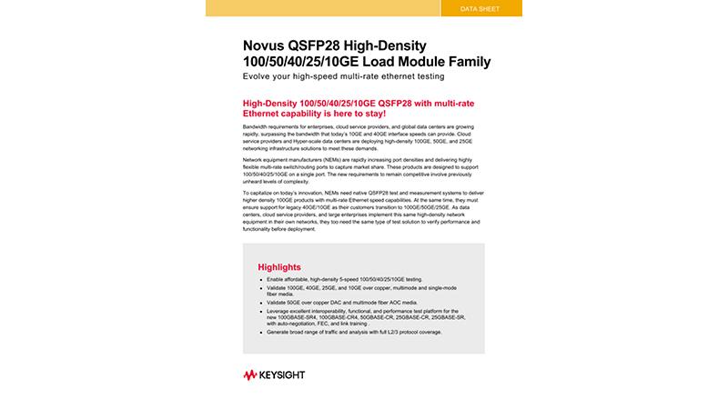 Novus QSFP28 100/50/40/25/10GE Load Module Family