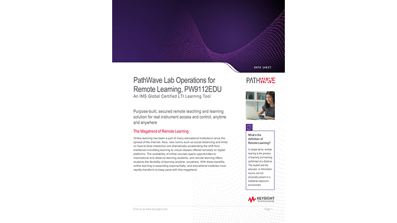 PathWave Lab Operations for Remote Learning, PW9112EDU