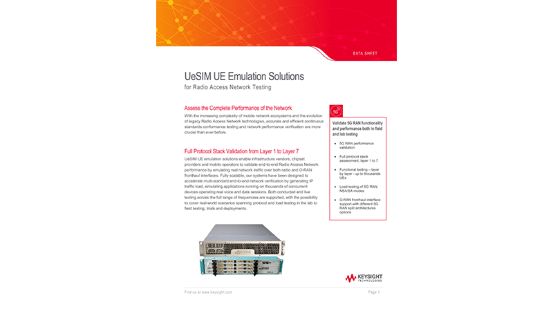 UeSIM UE Emulation Solutions for Radio Access Network Testing