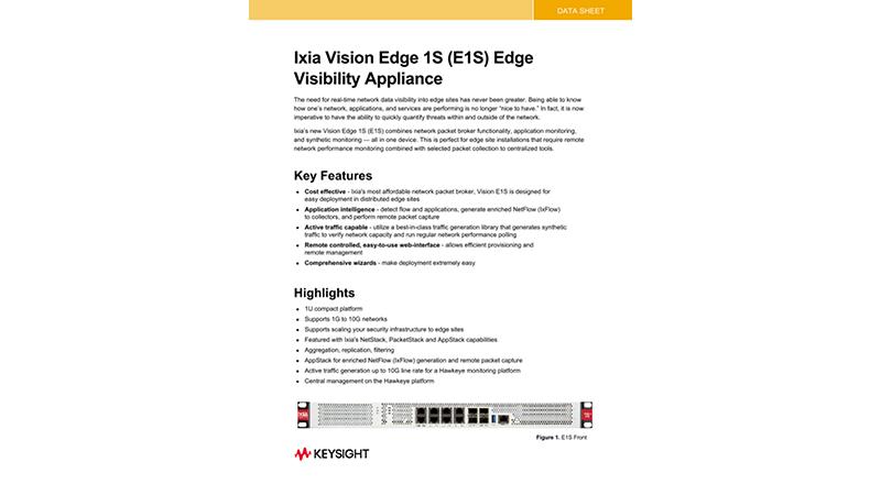 Ixia Vision Edge 1S (E1S) Edge Visibility Appliance