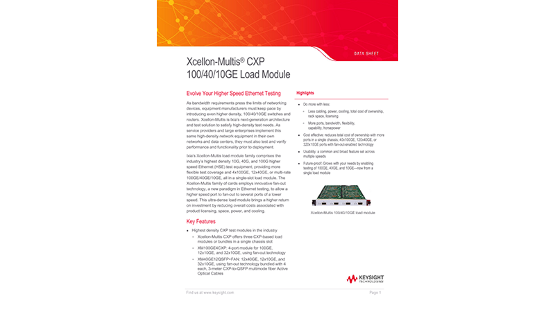 Xcellon-Multis® CXP 100/40/10GE Load Modules