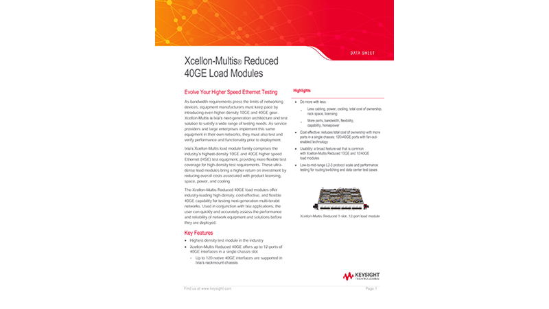 Xcellon-Multis® Reduced 40GE Load Modules