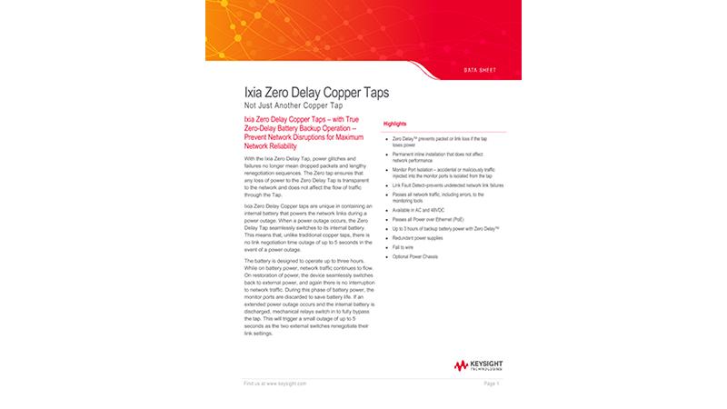 Ixia Zero Delay Copper Taps