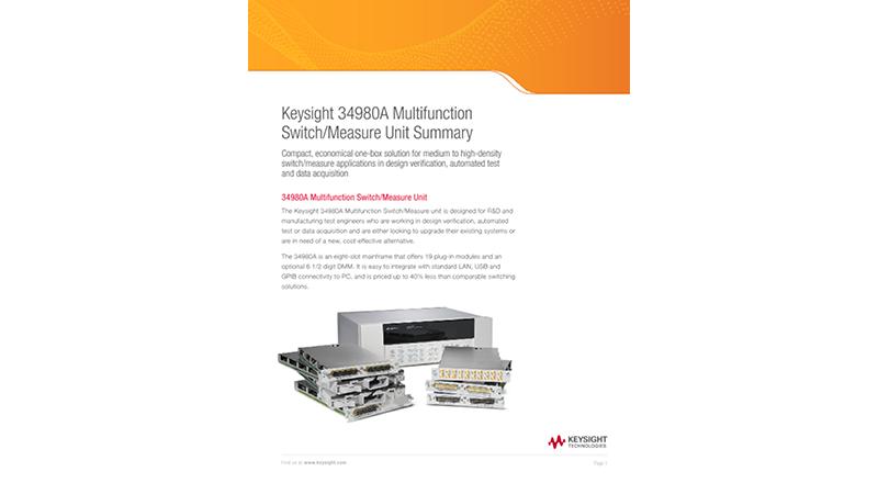 Keysight 34980A Multifunction Switch/Measure Unit