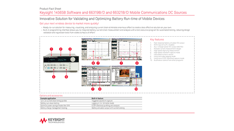 14565B Software and 66319B/D and 66321B/D Mobile Communications DC Sources – Product Fact Sheet