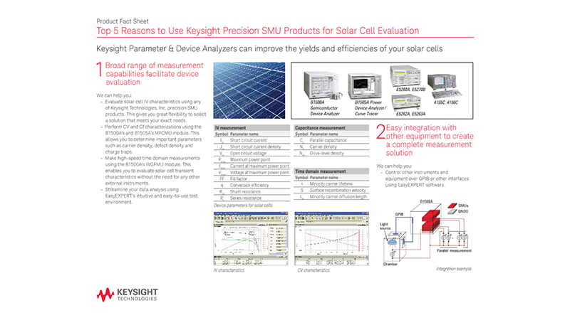 Top 5 Reasons to Use Keysight Precision SMU Products for Solar Cell Evaluation