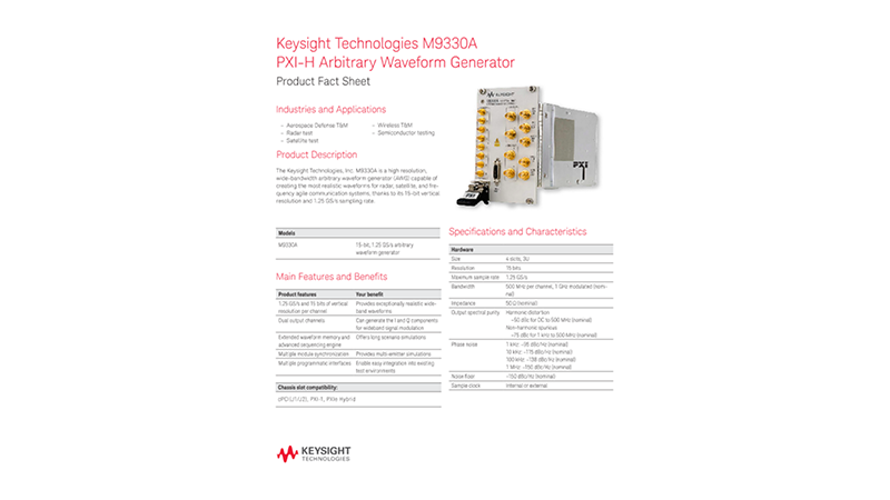 M9330A PXI-H Arbitrary Waveform Generator – Product Fact Sheet