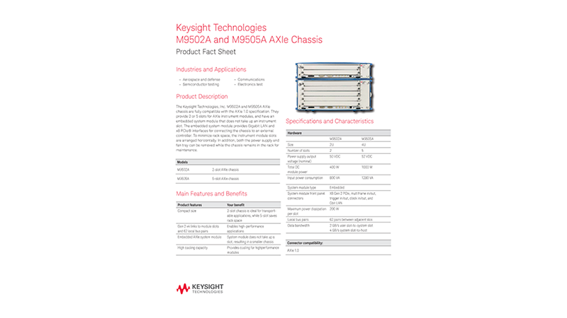M9502A and M9505A AXIe Chassis – Product Fact Sheet