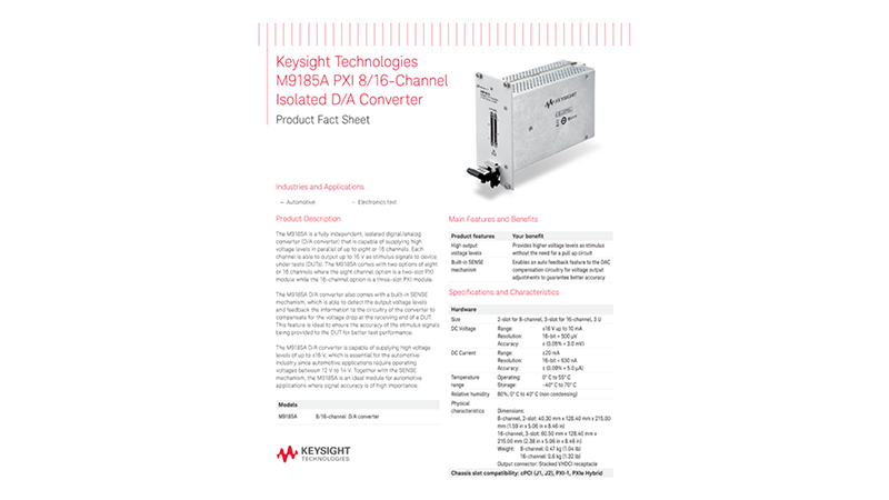 M9185A PXI 8/16-Channel Isolated D/A Converter