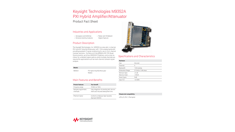 M9352A PXI Hybrid Amplifier/Attenuator – Product Fact Sheet