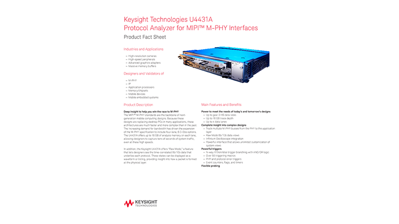U4431A Protocol Analyzer for MIPI™ M-PHY Interfaces