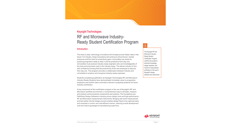 RF and Microwave Industry-Ready Student Certification Program