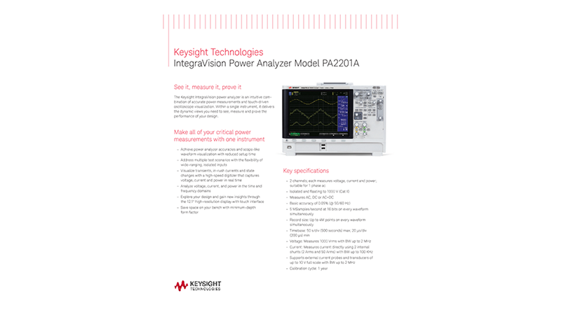 IntegraVision Power Analyzer Model PA2201A - Two page flyer