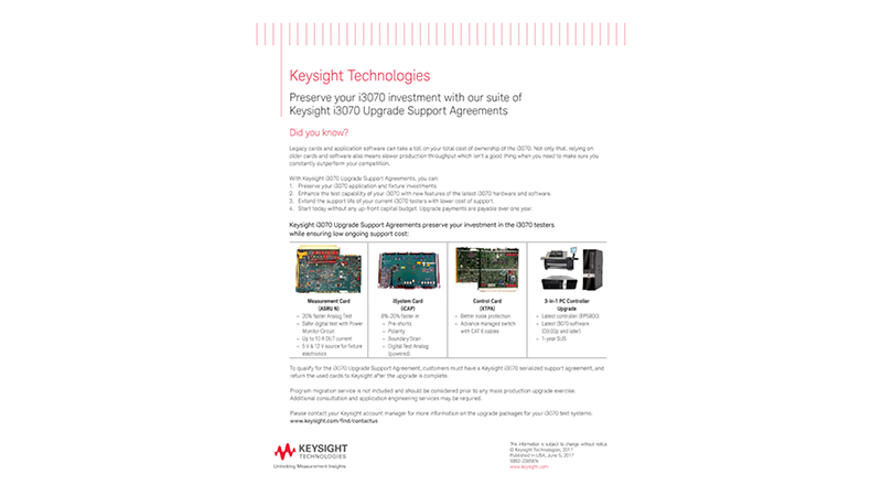 Preserve your i3070 investment with our suite of Keysight i3070 Upgrade Support Agreements