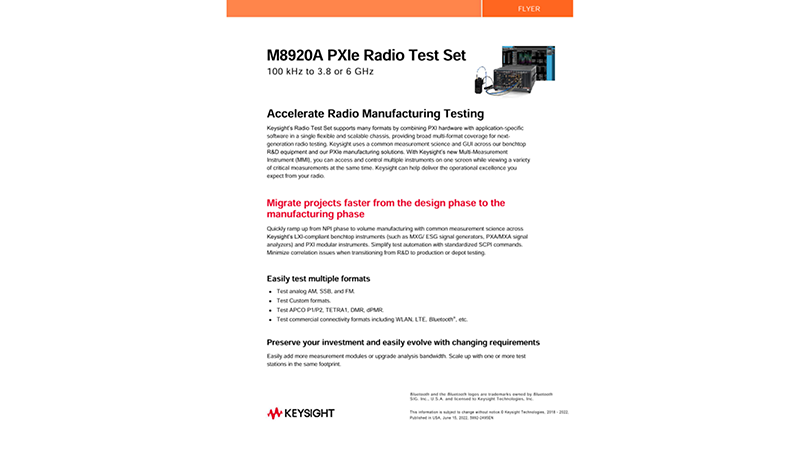M8920A PXIe Radio Test Set