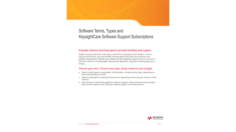 Software Terms, Types and KeysightCare Software Support Subscriptions