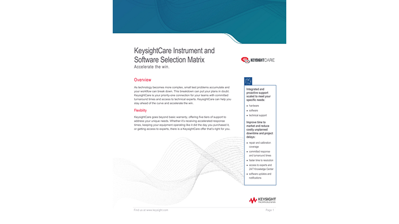 KeysightCare Instrument and Software Selection Matrix