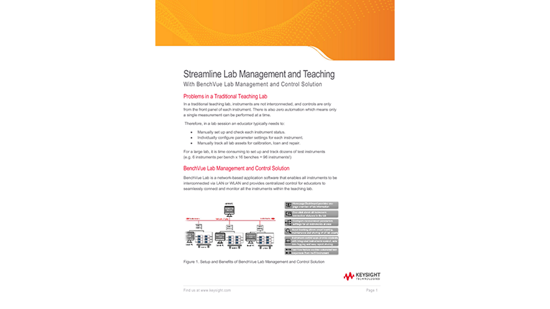 Streamline Lab Management and Teaching With BenchVue Lab Management and Control Solution