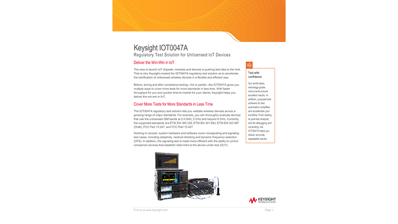 IOT0047A – Regulatory Test Solution for Unlicensed IoT Devices