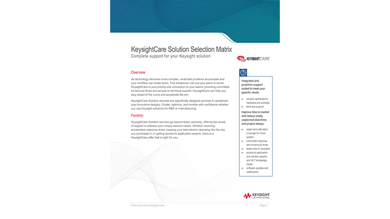 KeysightCare Solution Selection Matrix