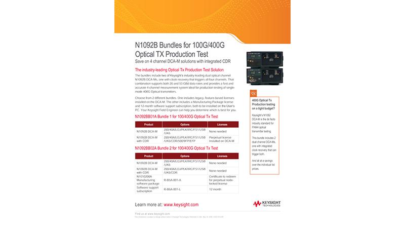 N1092B Bundles for 100G/400G Optical TX Production Test