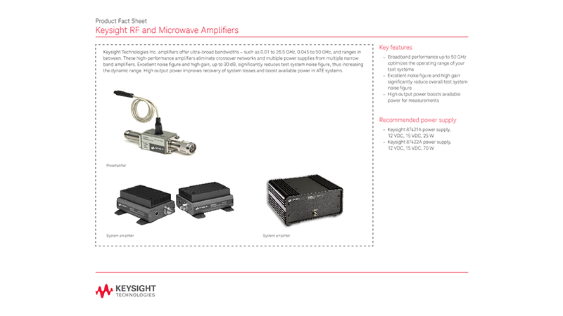 RF and Microwave Amplifiers – Product Fact Sheet